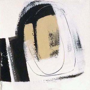 Carlyn Janus Painting Contemporary Abstract Black and White Beige