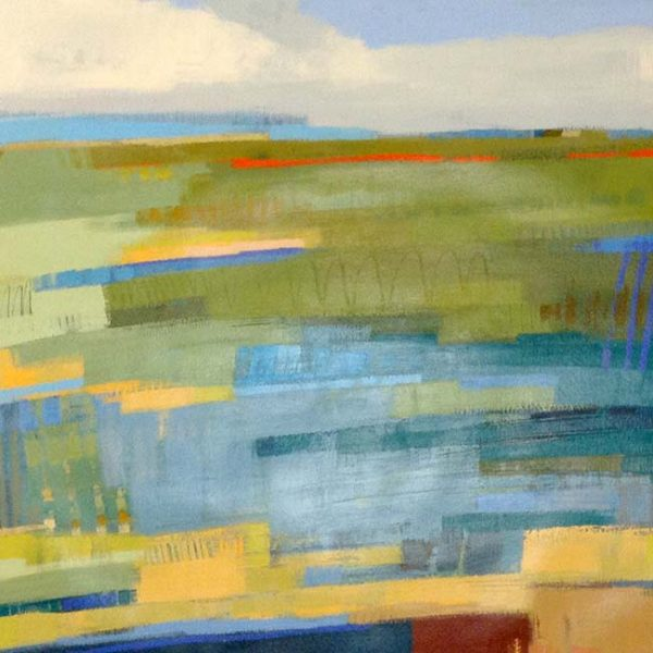 Carlyn Janus Painting Contemporary Abstract Landscape Blue Green Mustard Yellow
