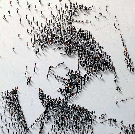 Craig Alan Painting of Leonard Cohen comprised of tiny people