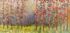Jeff Koehn Painting - Aspen Tree Forest Mountain Purple Orange
