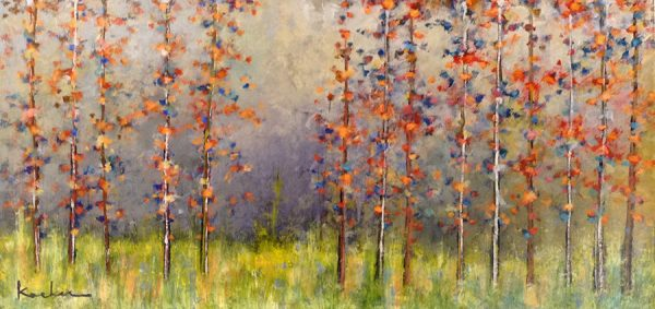 Jeff Koehn Painting - Aspen Tree Forest Mountain Purple Orange