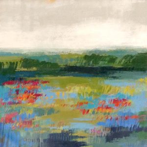 Carlyn Janus Painting Contemporary Abstract Landscape Green Blue Red Gray
