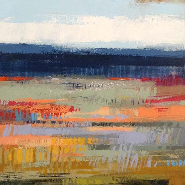 Carlyn Janus Painting Contemporary Abstract Landscape Salmon Coral Sage Blue Sky