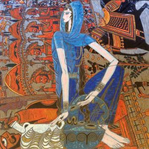 Ting Shao Kuang - Blue Diamond Eastern Song serigraph of chinese woman