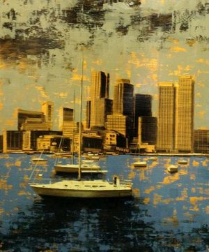 Kevin Kusiolek Painting of boats in Boston Harbor