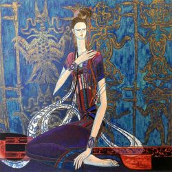 Ting Shao Kuang - Calling the Soul serigraph print of chinese woman