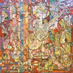 Chang - Celebration - Goddess with Guitar Mosaic Abstract Tribal Figure