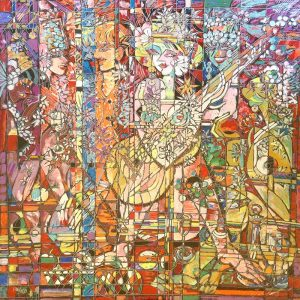 Chang - Celebration - Goddess with Guitar Mosaic Abstract Tribal Figure