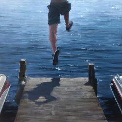Carol OMalia painting of boy jumping off dock into water