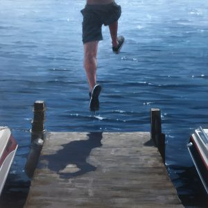 Carol OMalia painting of boy jumping off dock into water