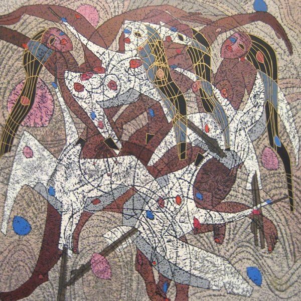 Jiang Tie Feng Flight Abstract Dancing Singing Nude Women with Birds
