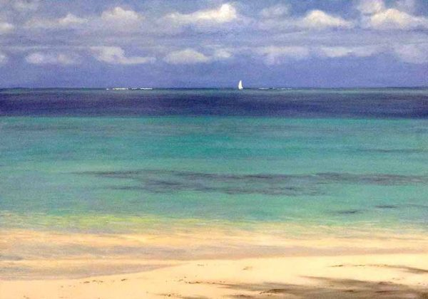 Hilary Baldwin Seascape Painting of Turks & Caicos Beach Teal Water