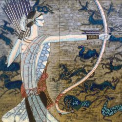 Ting Shao Kuang - Hunting Ages print of woman with bow an arrow