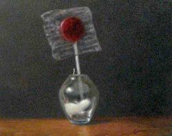 Stuart Dunkel painting of lollypop in a glass jar with mouse
