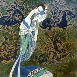 Ting Shao Kuang - Messenger serigraph of woman holding bird