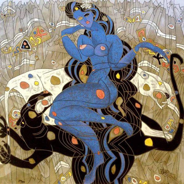Jiang Tie Feng - Mountain Ghost - Goddess Blue Woman on Black Leopard