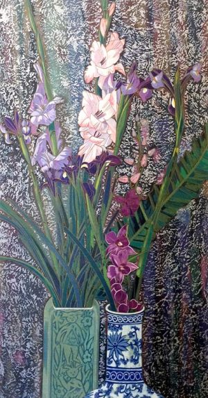 Ting Shao Kuang Orchids & Irises serigraph