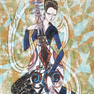 Ting Shao Kuang - Patterns serigraph of chinese woman playing musical instrument