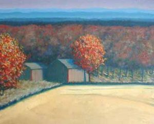 Jeff Tabor Painting - Autumn New England Landscape Farm