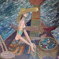 Ting Shao Kuang - Reminiscence colorful serigraph print of woman on a chinese boat
