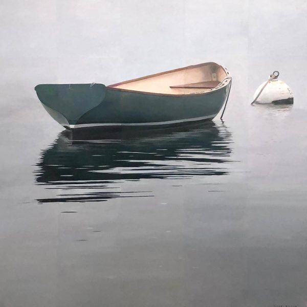 Robert Bolster painting of Green Blue Row Boat at Buoy on Calm Water