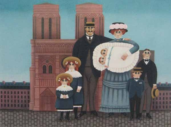 Jan Balet - Twins  family with babies and children in victorian city