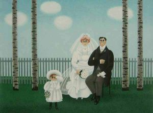 Jan Balet - Wedding Portrait of Bride and Groom with Flower Girl Getting Married