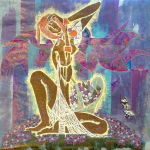 Lu Hong - Wildflower Female Nude Asian Tribal Figure with Flower Basket