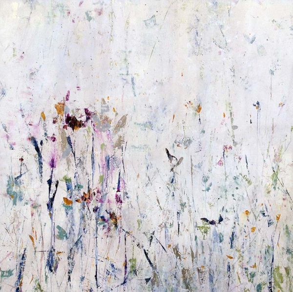 Jodi Maas Painting - Abstract Floral Contemporary with Lavender and Purple