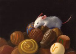 Stuart Dunkel Painting of Mouse Sitting on Pile of Chocolate Candies
