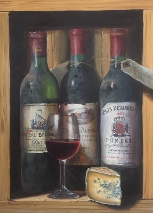 Raymond Campbell Trompe loeil Painting of Wine Bottles on shelf with stilton cheese