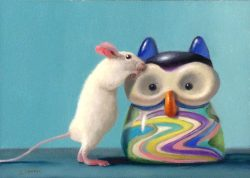 Stuart Dunkel Painting Whimsical Mouse with Colorful Glass Owl Toy