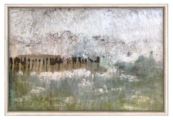 framed Alexys Henry painting of abstracted shoreline with driftwood