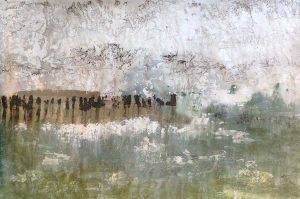 Alexys Henry Painting - Abstract Landscape in Mountain Green and Rustic Brown with White Texture Clouds