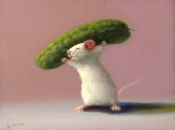 Stuart Dunkel Painting of Mouse Carrying Large Green Pickle on Shoulders