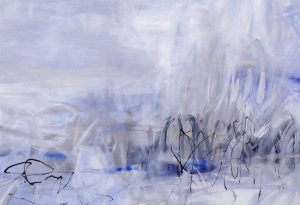 Jodi Maas Painting Contemporary Abstract Blue Cloudscape with Black Lines