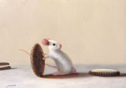Stuart Dunkel Whimsical Painting of Mouse Rolling an Oreo Cookie