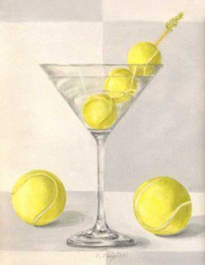 Patti Zeigler Painting of Yellow Tennis Balls in Martini Glass Still Life