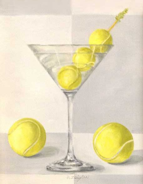 Patti Zeigler Painting of Yellow Tennis Balls in Martini Glass Still Life