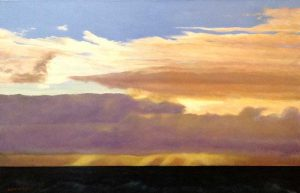 Ken Northup Painting of Pink Purple Clouds Over Navy Ocean Horizon at Sunset