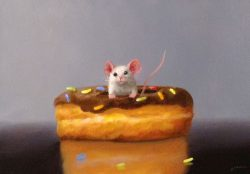 Stuart Dunkel Painting of Mouse with Chocolate Sprinkle Donut
