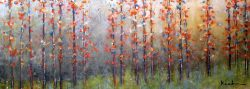 Jeff Koehn Painting of Tree Glade Red Aspen Forest