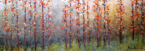 Jeff Koehn Painting of Aspen Forest in Autumn with Red Trees