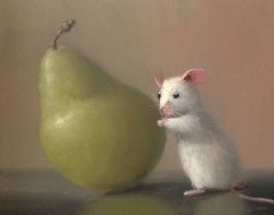 Stuart Dunkel Whimsical Painting Mouse Trying to Lift a Pear