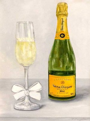 Patti Zeigler Painting of Champagne Flute and Veuve Clicquot Bubbly