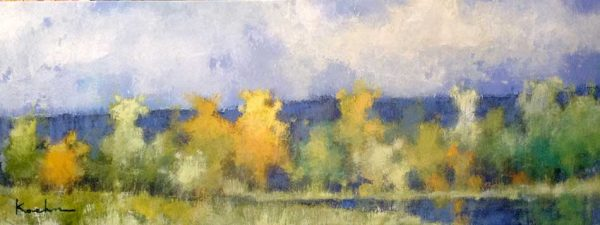 Jeff Koehn Painting of Yellow and Green Trees in Mountains