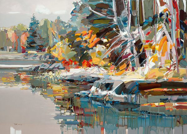 Josef Kote - Paradise Found giclee on canvas of lake with trees