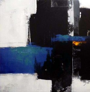 Sydney Edmunds Oil Painting of Abstract Contemporary Minimal Blue and Black