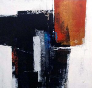 Sydney Edmunds Oil Painting of Abstract Contemporary Minimal Orange and Black