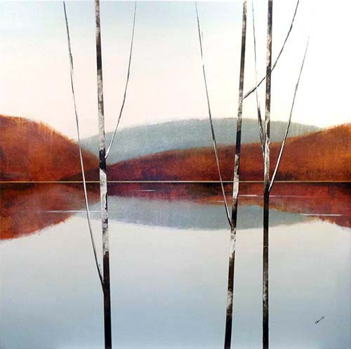 Sydney Edmunds Oil Painting of Birch Trees on Lake with Mountain Hills in Rust and Grey
